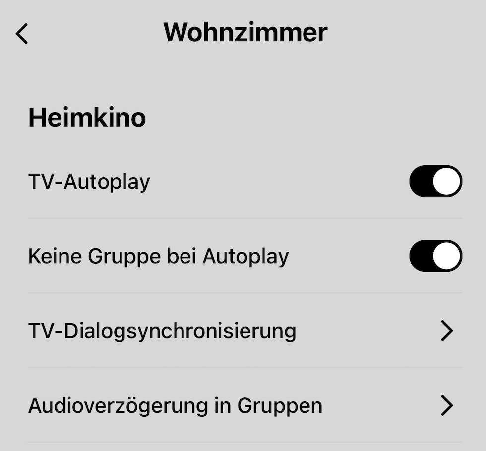 Sonos App TV-Autoplay mit Apple TV